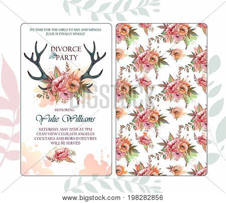 Divorce party invitation. Face and back sides. Illustration of a deer skull with poppy. Creative decorative elements.