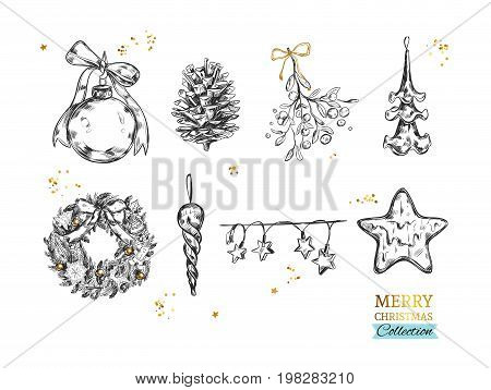Merry Christmas collection with vector hand drawn illustrations . Christmas ball, Fir-tree cone, Mistletoe, Frozen Star, Lights, Christmas tree, Christmas Wreath. Vector. Isolated objects
