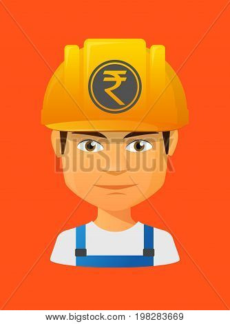 Worker Avatar With  A Rupee Coin Icon