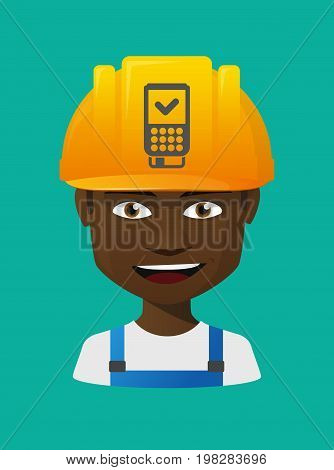 Worker Avatar With  A Dataphone Icon