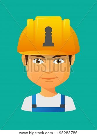 Worker Avatar With A  Pawn Chess Figure