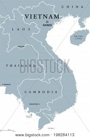 Vietnam political map with capital Hanoi and borders. English labeling. Socialist republic of Vietnam. Easternmost country on the Indochina Peninsula in Southeast Asia. Gray illustration. Vector.