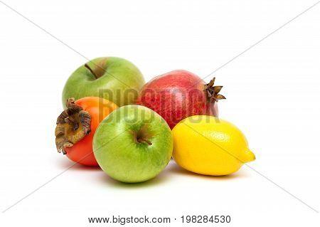 Fruits isolated on white background. Horizontal photo.
