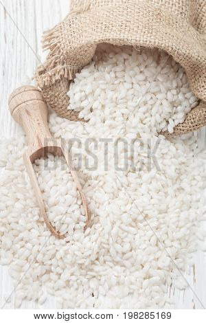 Raw Organic Arborio Rice In A Bowl