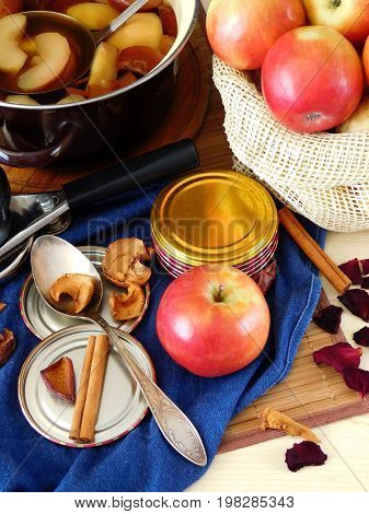 Process of apple conservation. Tools and ingredients for apples conservation