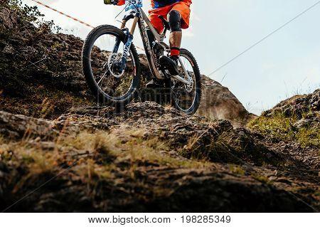 Magnitogorsk Russia - July 21 2017: bike wheel rider downhill mountain biking during National championship downhill