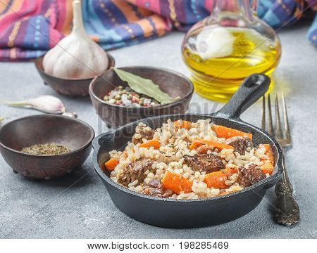 Devzira Pilaf With Lamb, Onions, Carrots And Spices (cumin, Coriander, Pepper). Traditional Dishes O