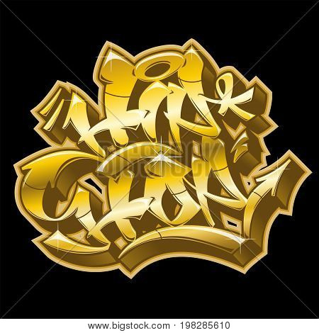 Hip-Hop word in readable graffiti style in golden colors isolated on black background.