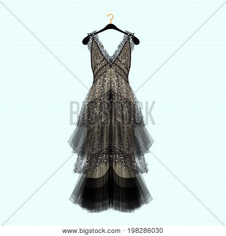 Retro style dress with rhinestones. Celebrity dress.Luxury dress. Fashion vector illustration