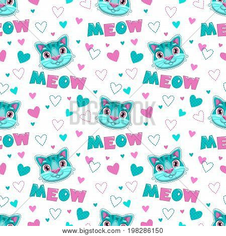Cute childish seamless pattern with funny cartoon cat faces, hearts and meow word on white background. Vector texture for textile print.