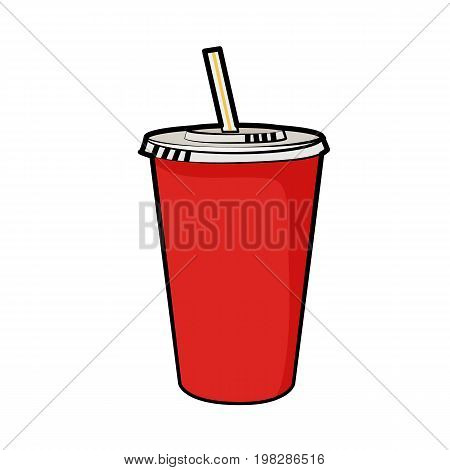 Isolated vector illustration of disposable red soda cup with straw for beverages for poster, menus, brochure, web and icon fastfood. Cartoon style with black outline on white background. Can be used as template