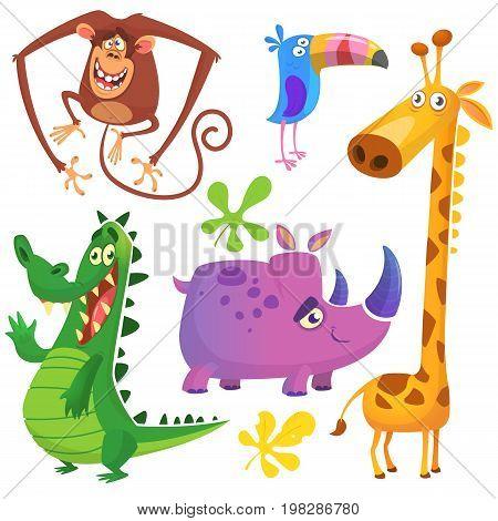 Cartoon African savanna animal set. Big collection of cartoon jungle animals. Vector illustration. Crocodile alligator giraffe monkey chimpanzee toucan and rhino