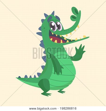 Cute cartoon crocodile or dinosaur. Vector illustration of a green crocodile waving and presenting. Isolated on white