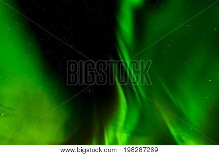 A beautiful green Aurora borealis or northern lights in Lofoten Norway
