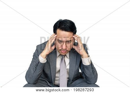 Portrait of worried businessman sitting after losing job stressed concept on white background