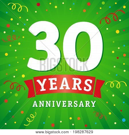 30 years anniversary logo celebration card. 30th years anniversary vector background with red ribbon and colored confetti on green flash radial lines