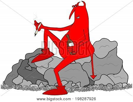 Illustration of a crossfaded red devil smoking a joint and drinking alcohol sitting on a pile of rocks.
