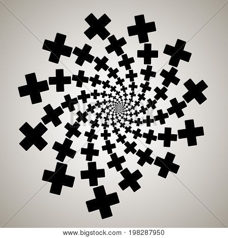 Swirl, Vortex Background. Rotating Spiral. Pattern Of A Whirling Of Hearts. Icon, Cross, Rectangle,