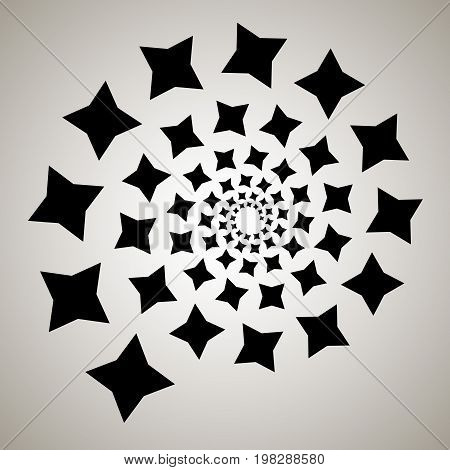 Swirl, Vortex Background. Rotating Spiral. Pattern Of A Whirling Of Hearts. Icon, Flower, Stars, Sta