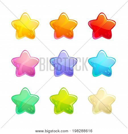 Cartoon glossy colorful stars set. Vector shiny XP icons for GUI or web design.