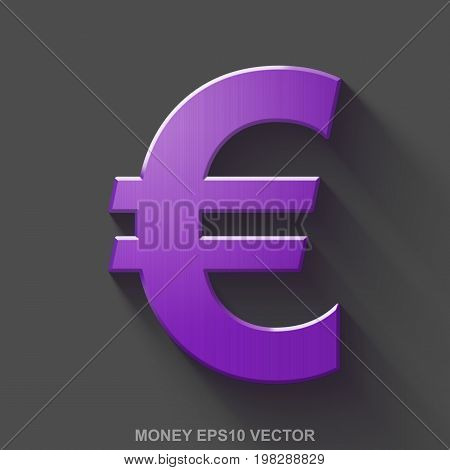 Flat metallic banking 3D icon. Purple Glossy Metal Euro icon with transparent shadow on Gray background. EPS 10, vector illustration.