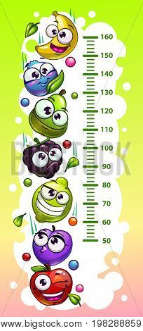Kids height chart template with funny cartoon fruit and berry characters. Vector illustration.
