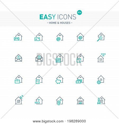 Vector thin line flat design icons set for home, mail, delivery and other themes
