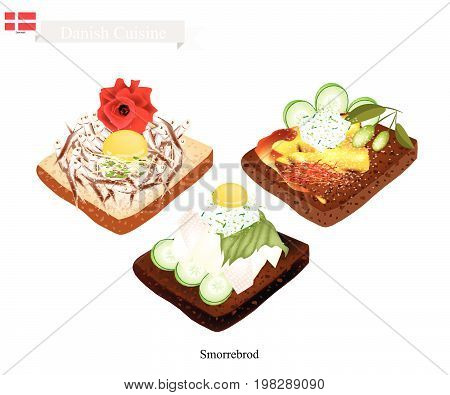Danish Cuisine, Illustration of Smorrebrod or Traditional Buttered Rye Bread or Dark Rye Bread Topped with Roast Chicken, Egg York, Vegetable and Tartar Sauce. The National Dish of Denmark.