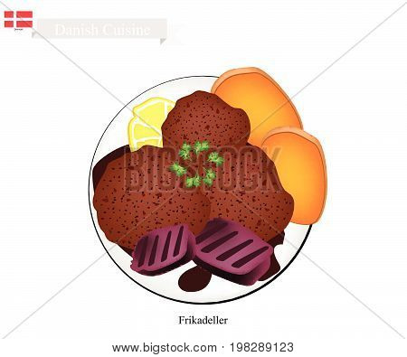 Danish Cuisine, Illustration of Frikadeller or Traditional Pan Fried Ground Beef Patty Served with Boiled Potatoes and Gravy or Creamed Cabbage. One of The Most Famous Dish in Denmark.
