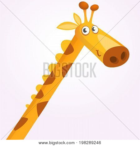 Cartoon giraffe mascot. Vector illustration of african savanna giraffe smiling. Great for sticker print or design