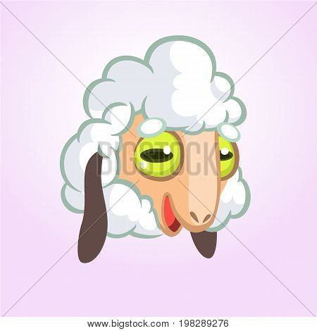 Cartoon sheep mascot character. Vector icon of a cute sheep or lamb. Illustration isolated on white