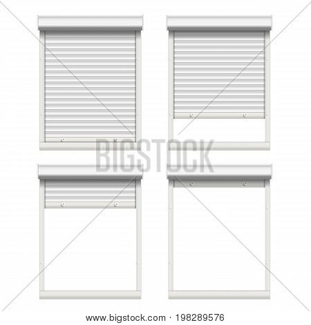Window With Rolling Shutters Vector. Opened And Closed. Front View. Isolated On White Illustration.