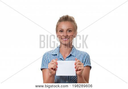 Woman Showing Empty Paper Card Sign With Copy Space For Text.