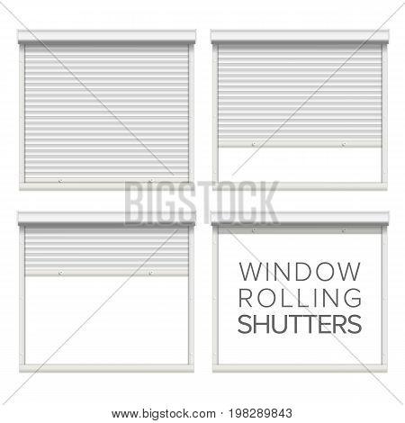 Vector Rolling Shutters. White Metallic Roller Shutter Isolated On White Background Illustration.