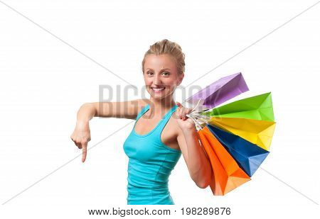 Happy Girl Shopaholic With Colored Shopping Bags, On White Background