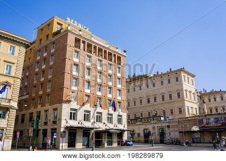 Rome Italy march 25 2017: Bottom view of the Bernini Bristol Hotel located in Piazza Barberini near the famous Via Veneto in Rome Italy