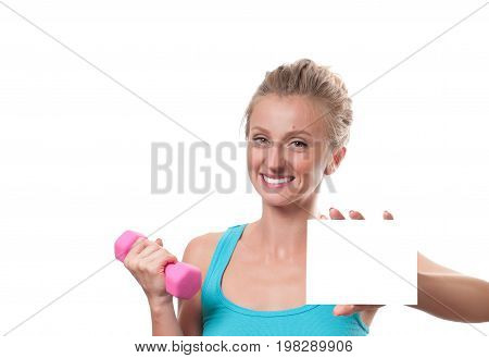 Woman With Dumbbell Showing Blank Paper Card
