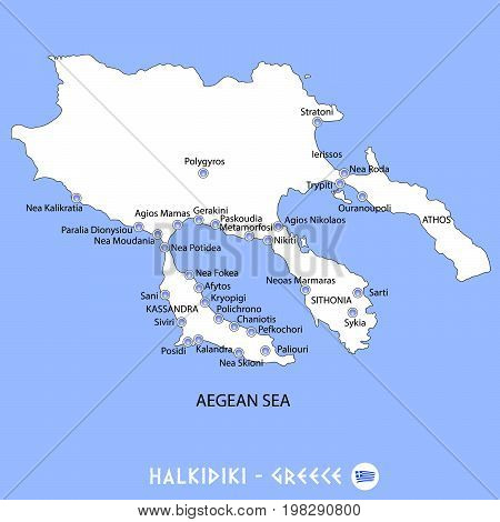Peninsula Of Halkidiki In Greece White Map And Blue Background Illustration