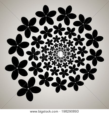 Swirl, Vortex Background. Rotating Spiral. Pattern Of A Whirling Of Hearts. Icon, Flower, Petals, Ou