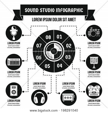 Sound studio infographic banner concept. Simple illustration of sound studio infographic vector poster concept for web