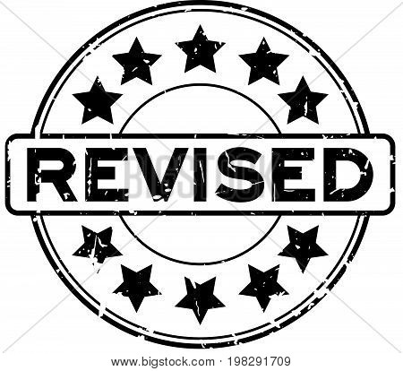 Grunge black revised wording with star icon round rubber seal stamp on white background