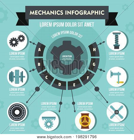 Mechanics infographic banner concept. Flat illustration of mechanics infographic vector poster concept for web