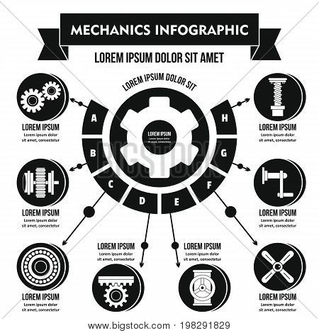 Mechanics infographic banner concept. Simple illustration of mechanics infographic vector poster concept for web
