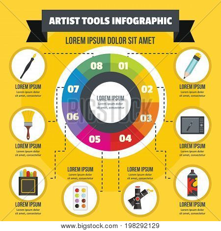 Artist tool infographic banner concept. Flat illustration of artist tool infographic vector poster concept for web