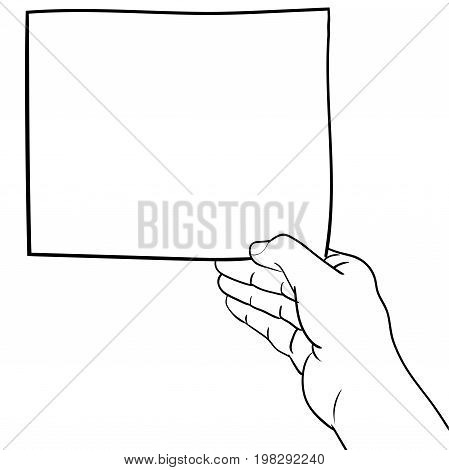 Hand drawn sketch of hand holding blank paper Black and White simple line Vector Illustration for Coloring Book - Line Drawn Vector