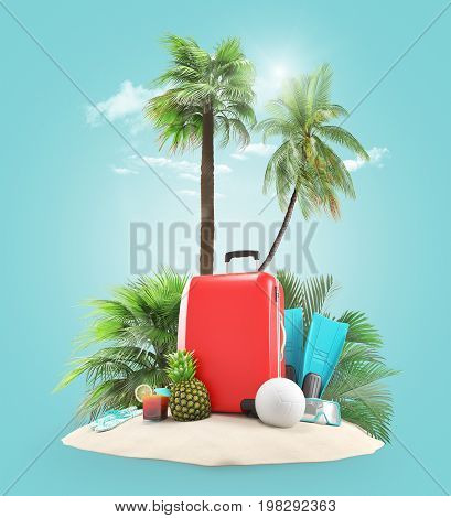 Suitcases on the beach with palms, 3D render illustration