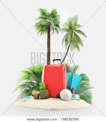Suitcases with palms and coconut, 3D render illustration