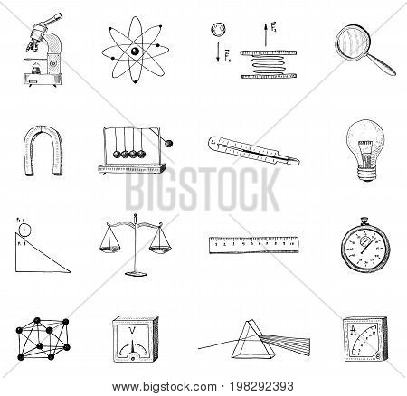lightbulb and prism, crystal lattice and scale with magnifying glass. engraved hand drawn in old sketch and vintage symbols. Back to School Elements of Science or physics and laboratory experiments