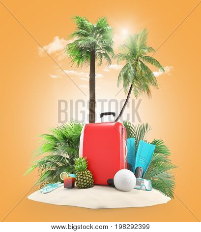 Suitcases on the beach for holiday, 3D render illustration