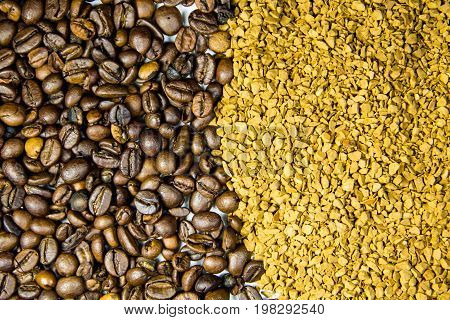 Background of roasted coffee beans and instant coffee granules